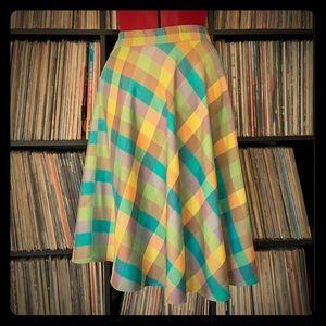 vintage pastel plaid silk twirl skirt 70s 60s   🍄